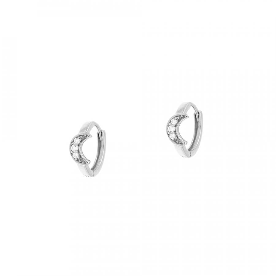 Pendientes de aro con luna de circonitas blancas en plata