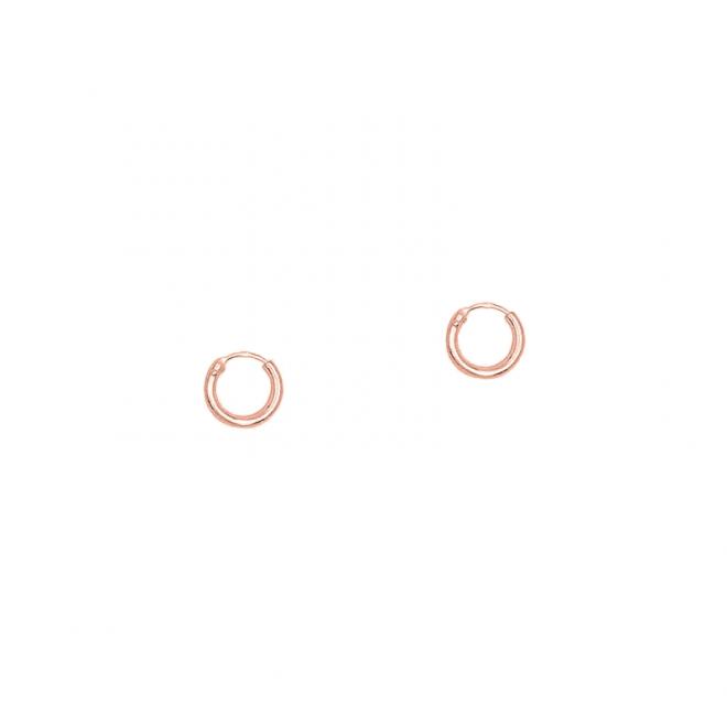 Pendiente de aro liso de 8mm bañado en oro rosa