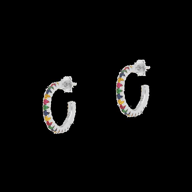 Pendientes grandes de aro con circonitas multicolor en plata