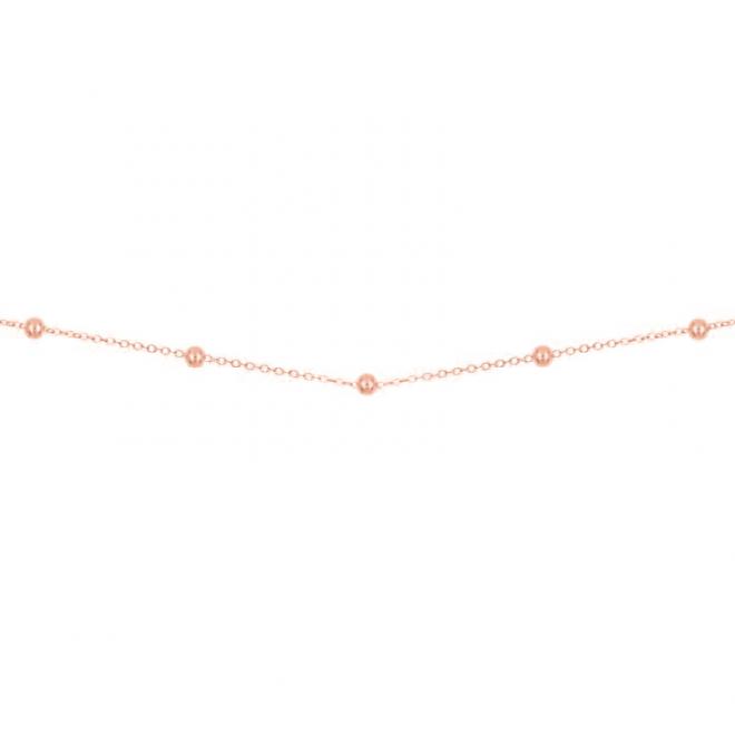 Collar estilo cadena con bolitas de 2.5mm con baño de oro rosa