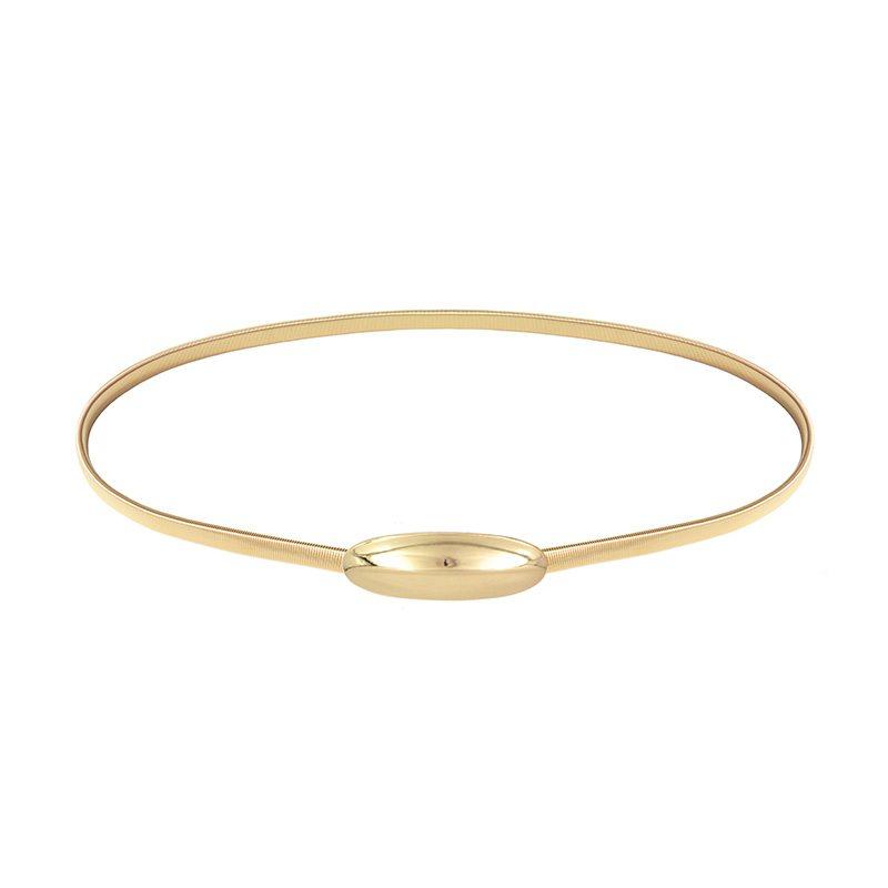 cinturón dorado para fiesta con cierre ovalado decorativo brillante