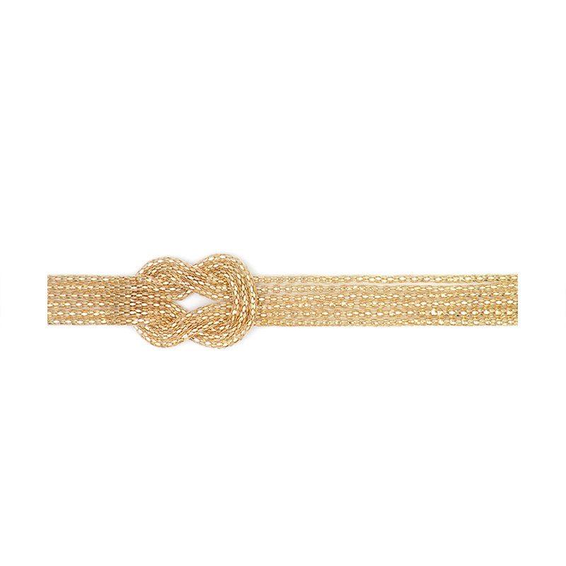 cinturón dorado con nudo estilo pasamanería