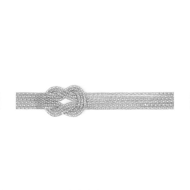 cinturón metálico con nudo marinero