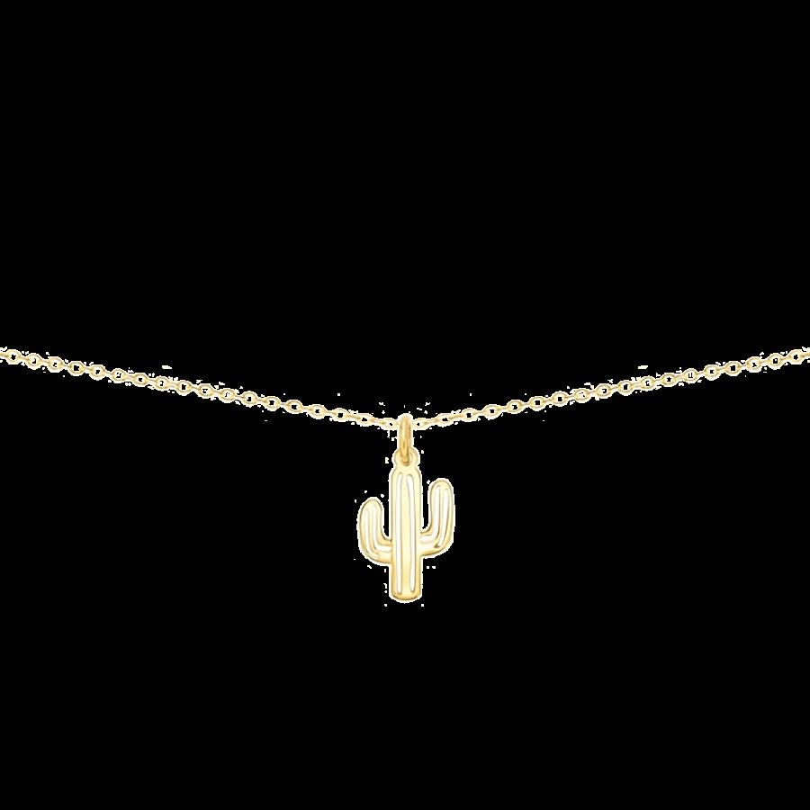 Collar con colgante en forma de cactus en oro vermeil