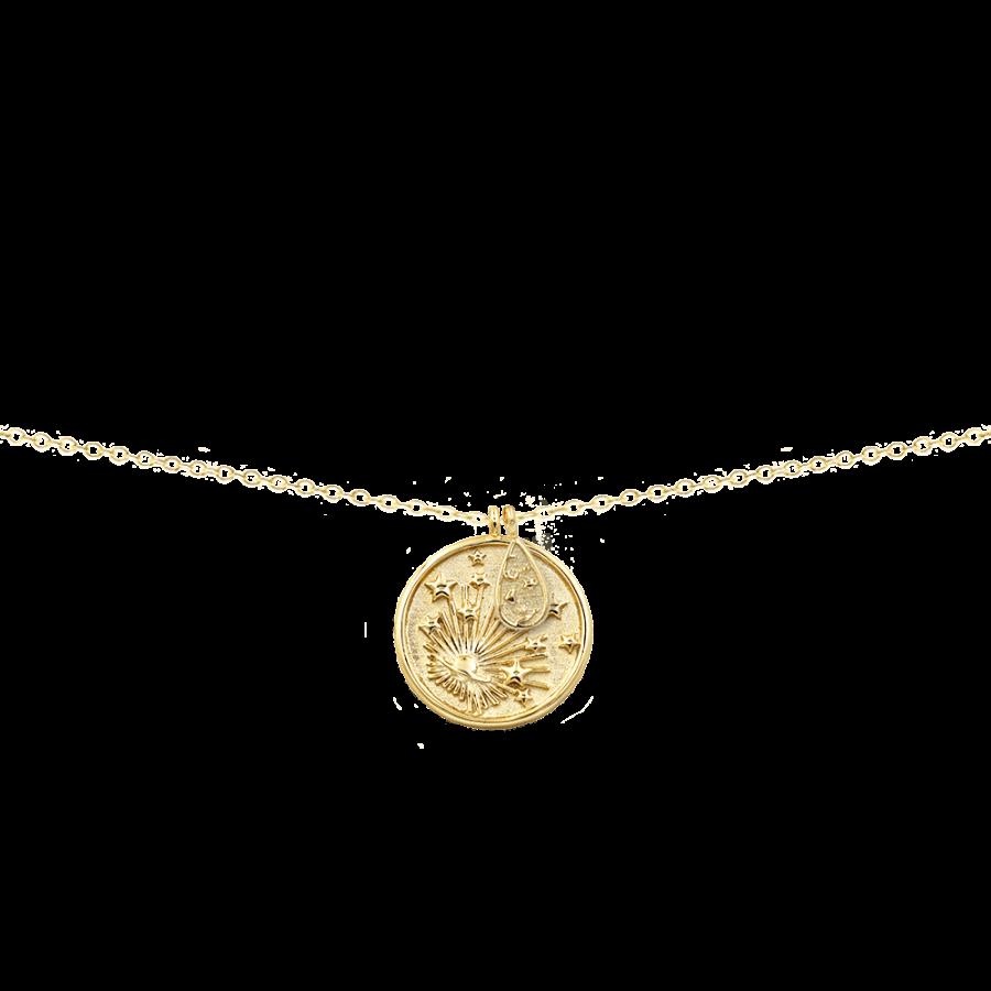Collar con medalla con diseño de planeta y estrellas