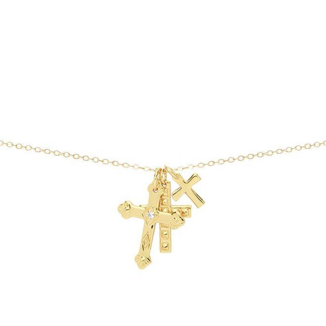 collar de cruces dorado