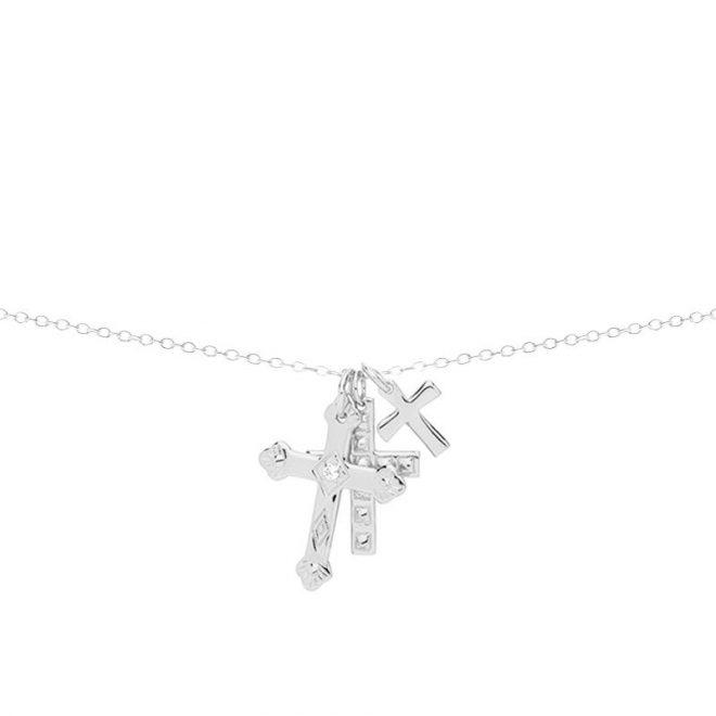 collar con tres cruces en plata