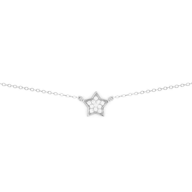 collar con colgante estrella con circonitas blancas de diseño atemporal y clásico