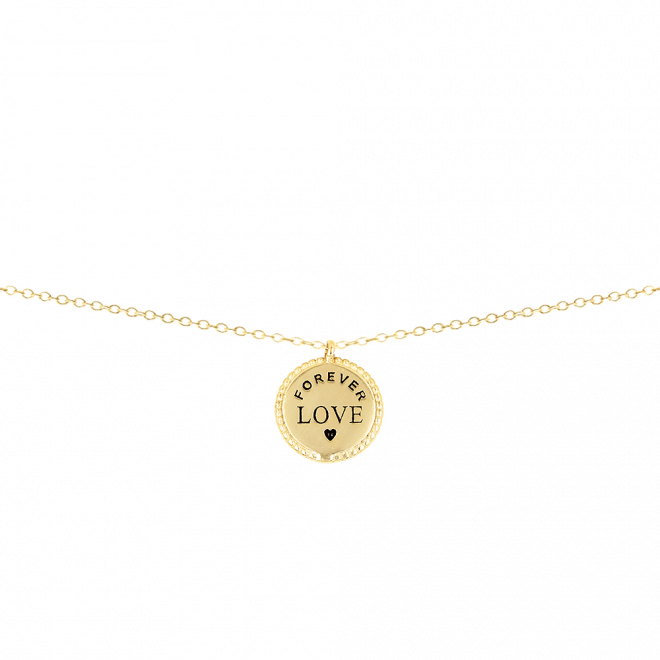 Colgante chapita con diseño de texto forever love para regalar