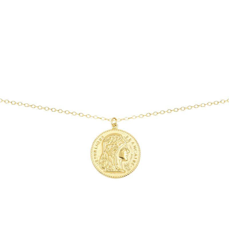 Collar con colgante moneda francesa bañada en oro