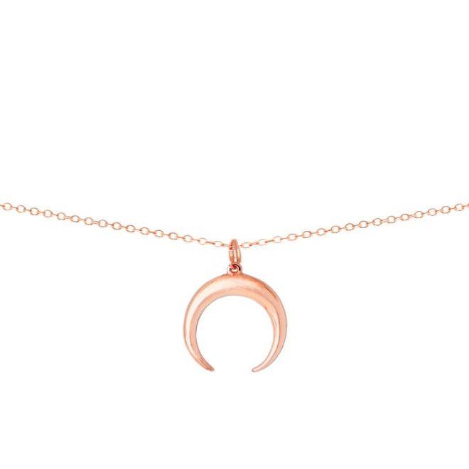 Collar con colgante luna creciente o cuerno en oro rosa