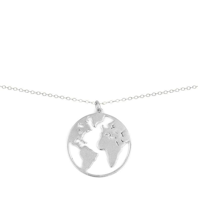 collar con colgante en forma de la Tierra en plata de ley