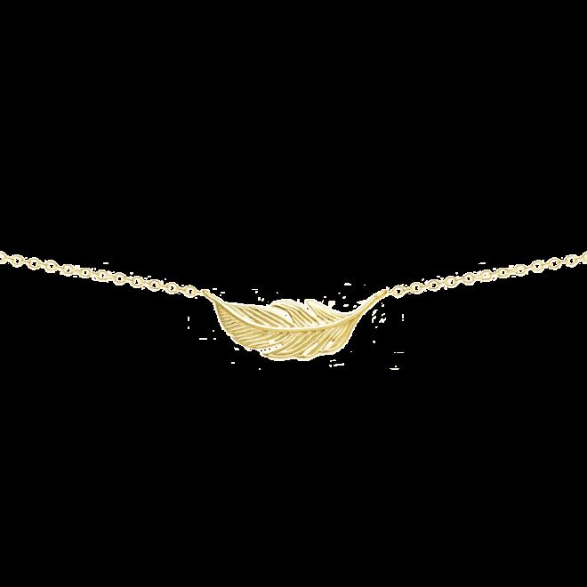 Collar con colgante pluma en plata de ley bañado en oro amarillo