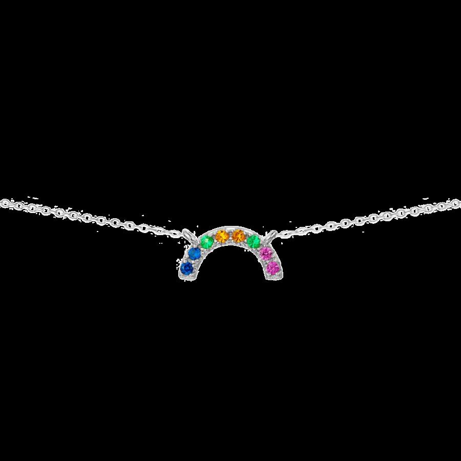 Colgante de plata estilo arco iris con diseño de colores