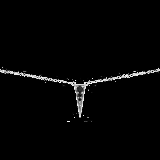 Collar con colgante triangular con circonitas negras en plata