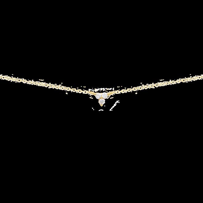 Collar con colgante trío de circonitas engarzadas en baño de oro