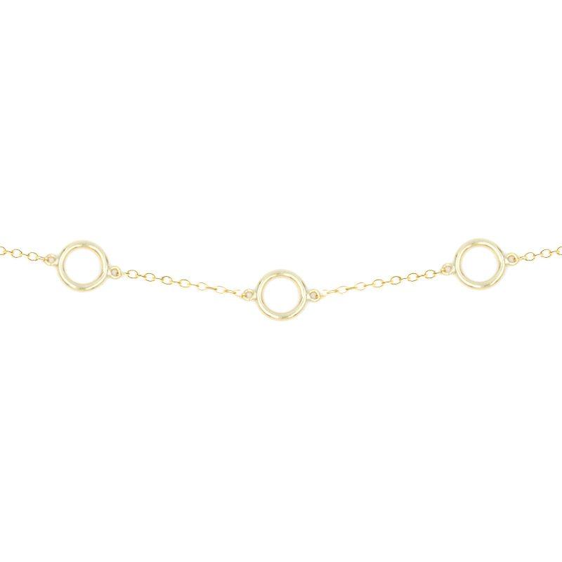 collar de círculos en dorado, cadena con aritos