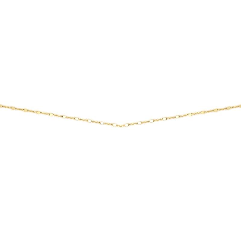 Cadena de plata bañada en oro de pequeños cubos finita