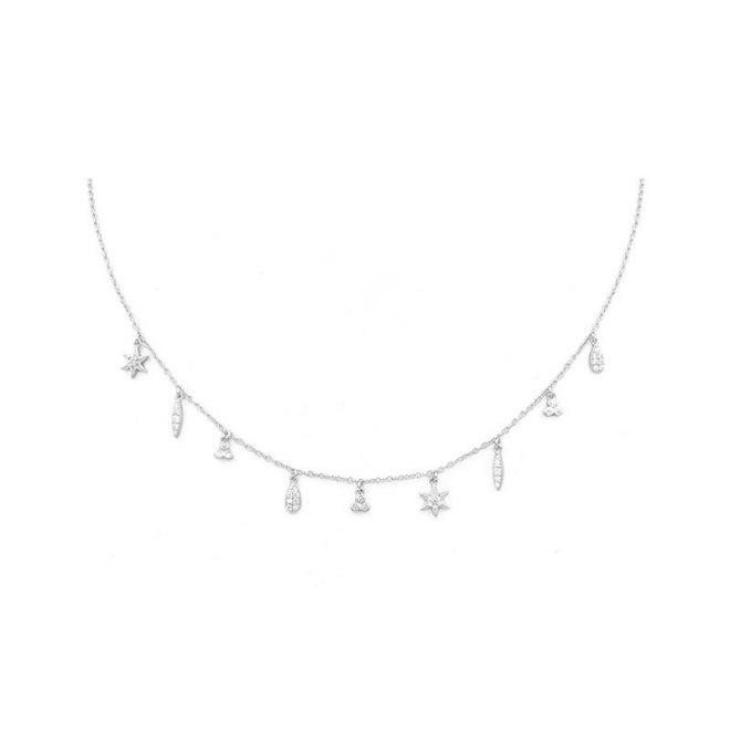 collar con nueve colgantes decorados con circonitas blancas en plata de ley