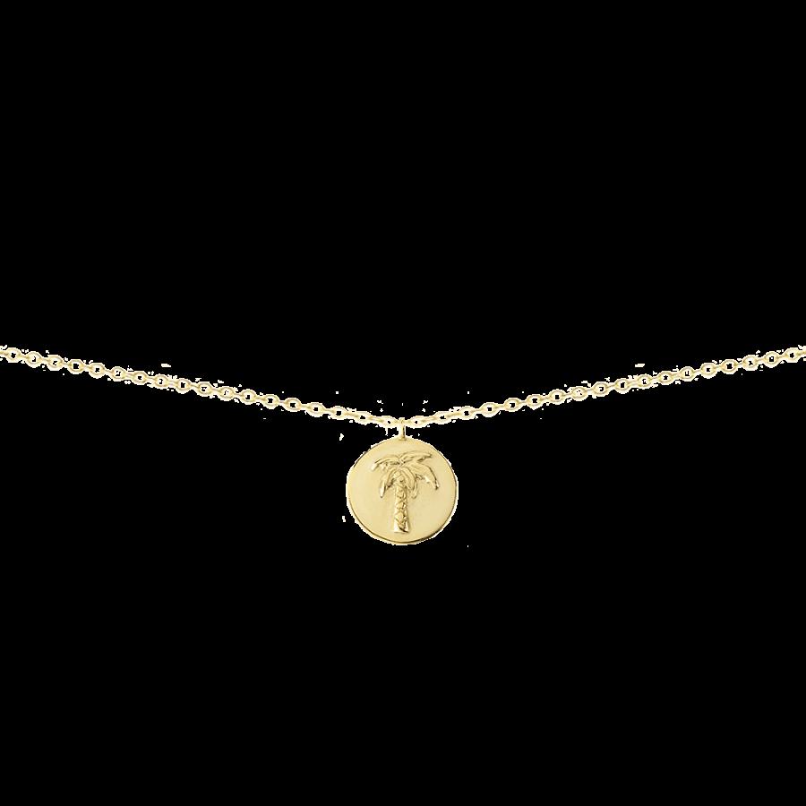 Collar en plata bañada con medalla decorada con una palmera