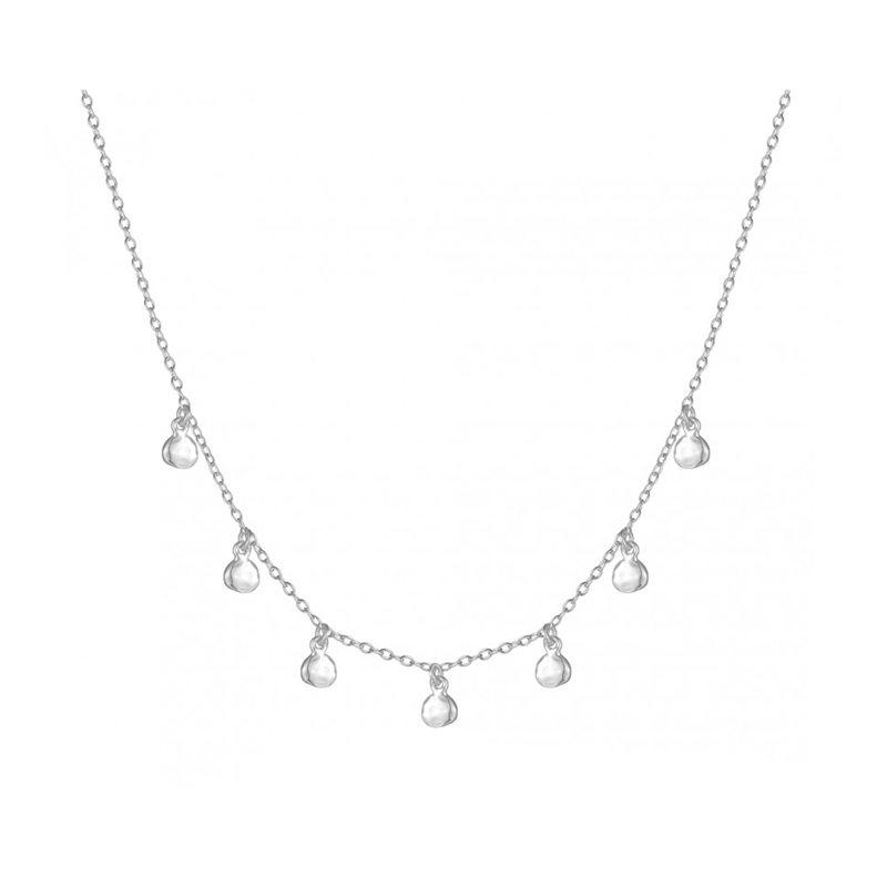 collar plata con colgantes redondos en plata de ley