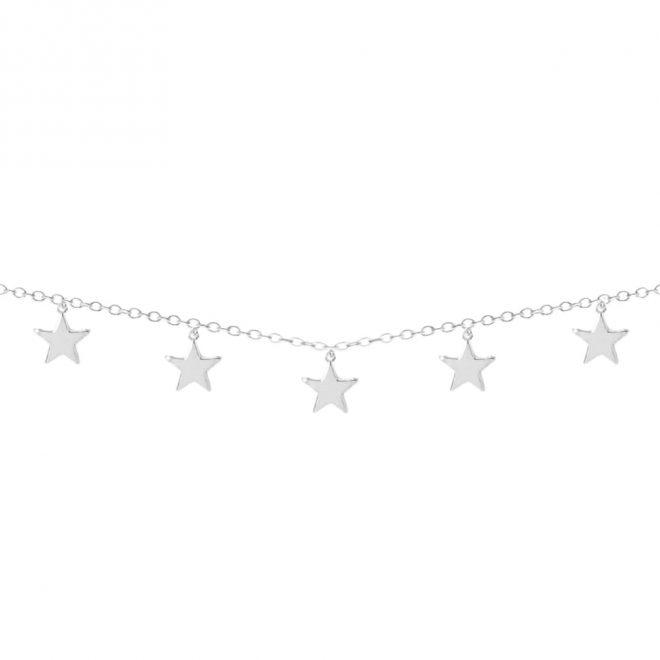 Collar corto con cinco colgantes de estrellas