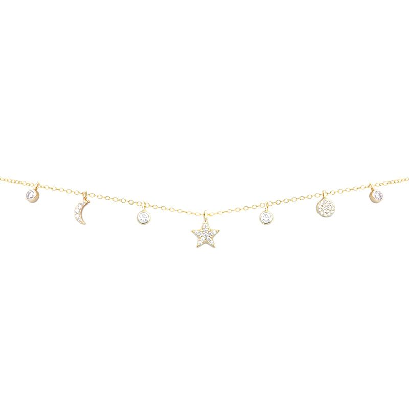 Cadena con colgantes de cristales en plata de ley con baño de oro