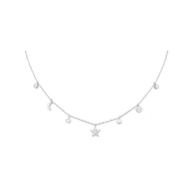 collar con siete colgantes decorados con estrellas y circonitas blancas en plata de ley