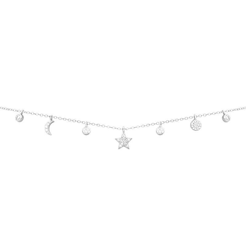 Cadena decorada con siete colgantes en plata de ley con circonitas