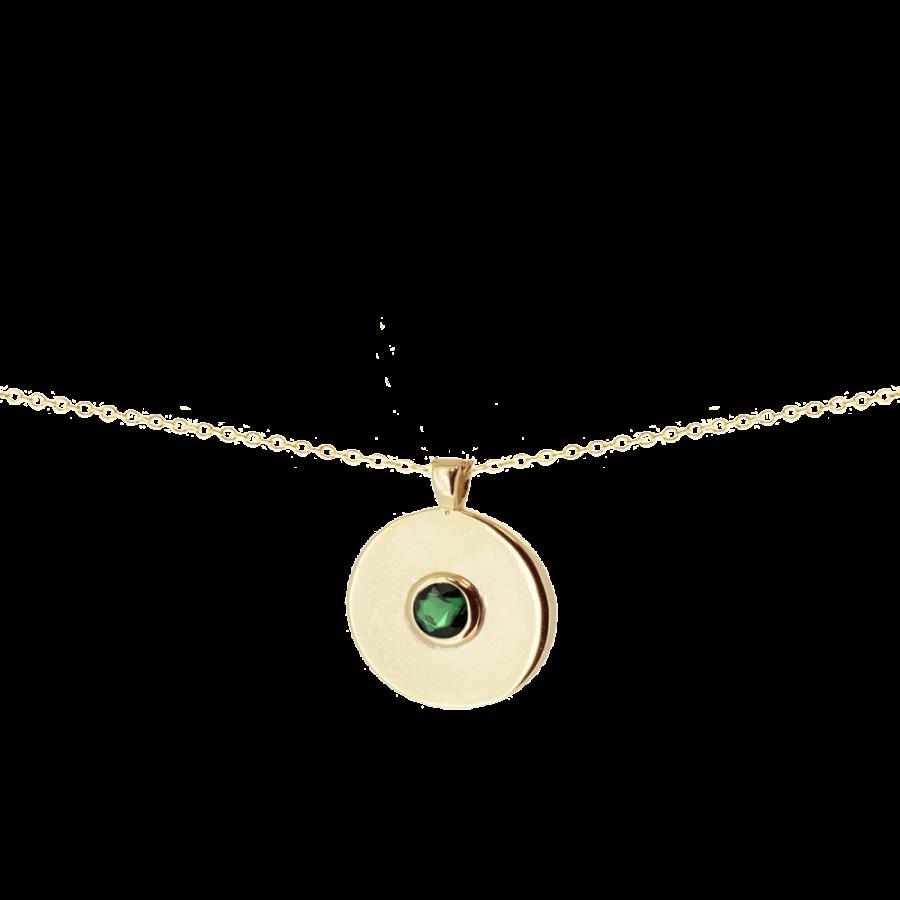 Colgante estilo medalla con circonita verde esmeralda