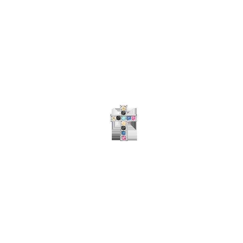 Pendiente de cruz de colores en plata de ley