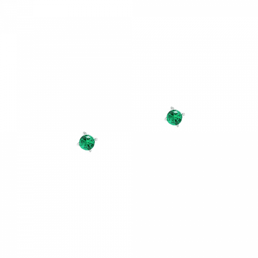 Pendientes de plata con piedra verde esmeralda