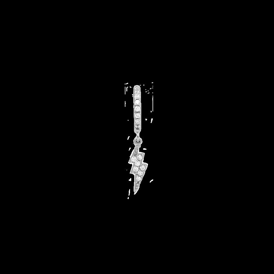 Aro en plata con colgante en forma de rayo en plata de ley