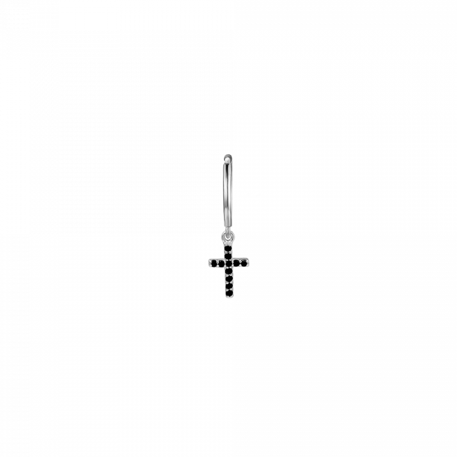Pendiente de aro en plata de ley con cruz con cristales negros