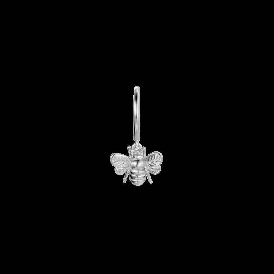 pendiente de aro con abejita en plata de ley de venta individual