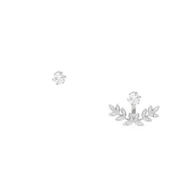 Pendientes estilo ancla con diseño de hojas y circonitas blancas