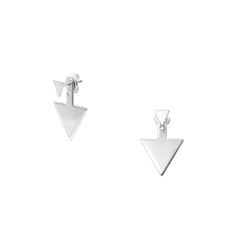 pendientes de plata de ley con aplique posterior en forma de triángulo