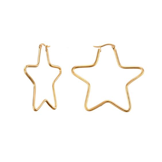 aros en forma de estrella en acero dorado
