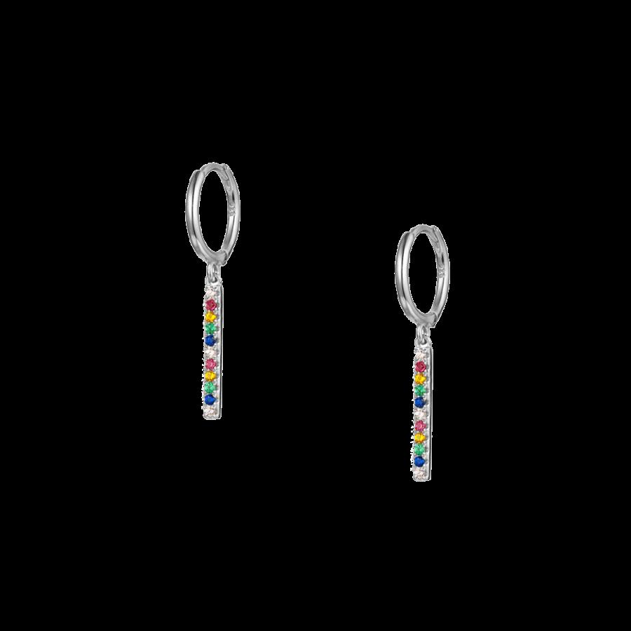 Pendientes aro con cristales multicolor
