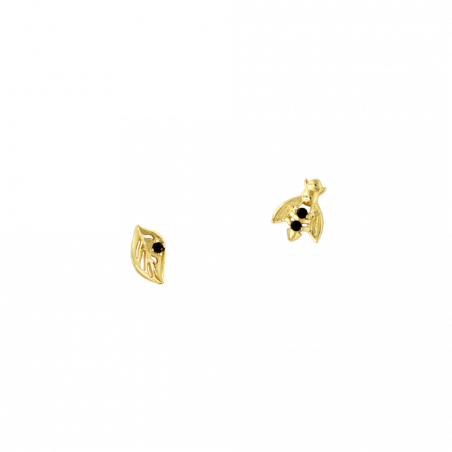 Pendientes de hoja y abeja en plata bañada en oro