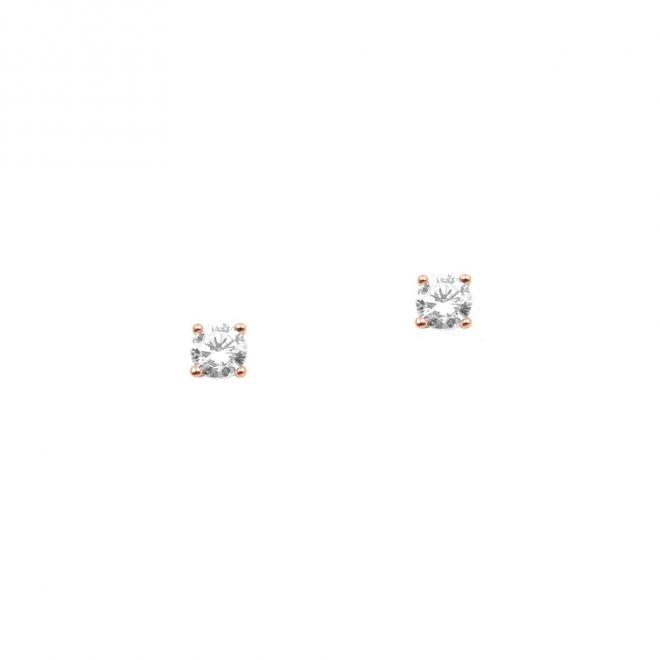 Pendientes pequeños de cristal en 4mm en oro rosa