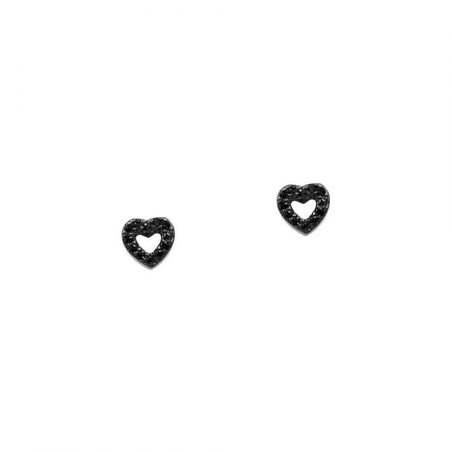 Pendientes en forma de corazón con circonitas negras