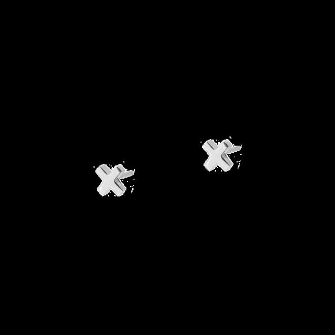 Pendientes estilo botón con diseño de X en plata de ley