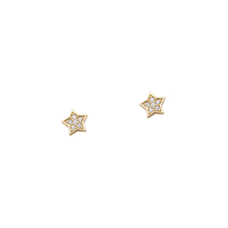 pendientes de botón en forma de estrella con brillantes
