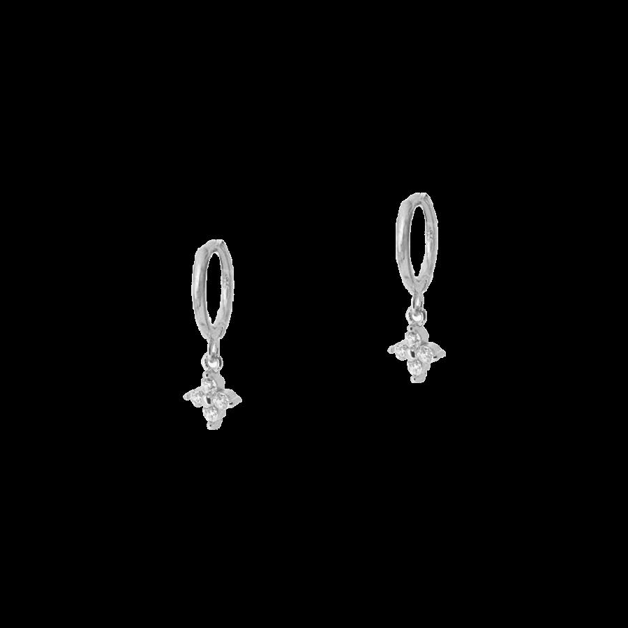 Aros con pequeña flor colgante de cristales