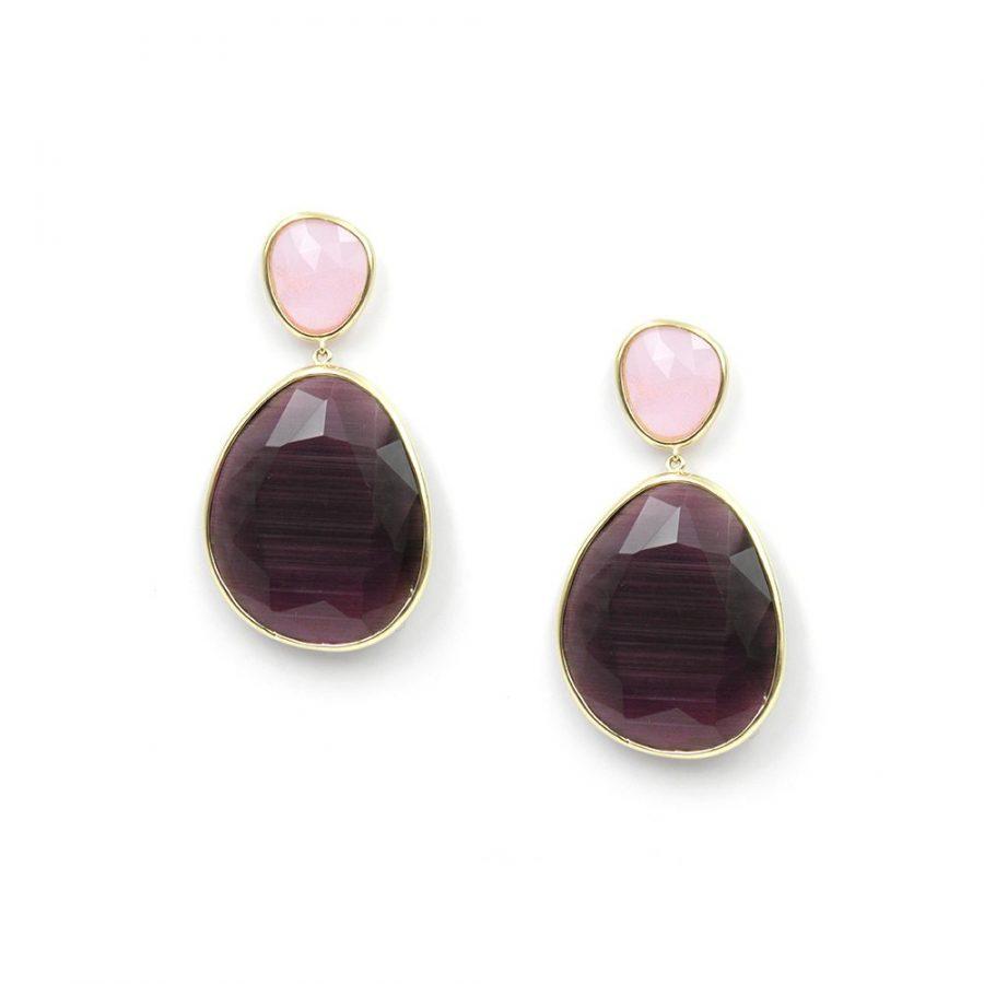 pendientes cristal en color amatista y rosa