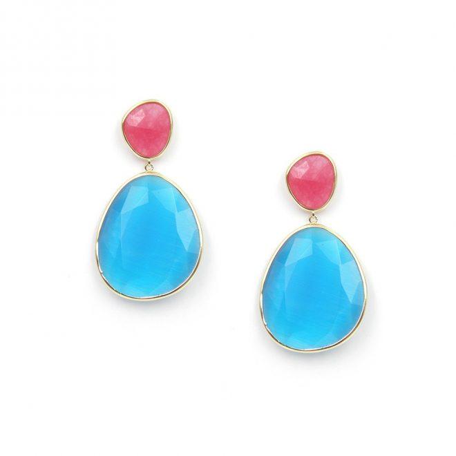 pendientes cristal en tono azul mar y coral