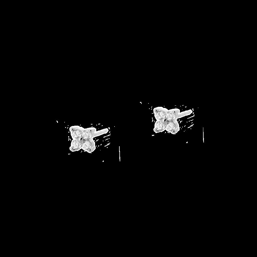 Pendientes de flor de circonitas en plata de ley
