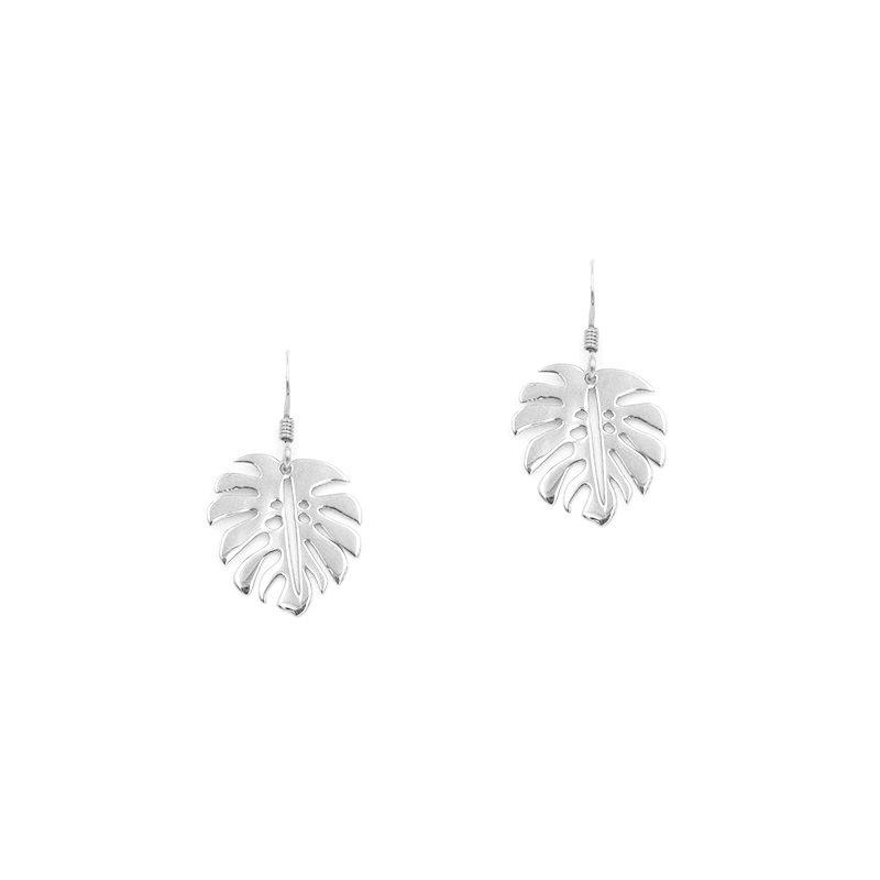 pendientes de plata con diseño de hojas de monstera