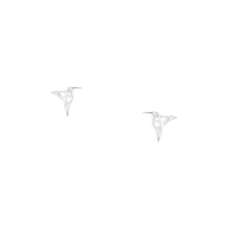 pendientes origami de pájaro colibrí en tamaño botón